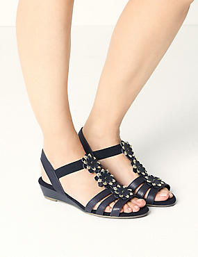 Wide Fit Leather Flower Sandals, , catlanding