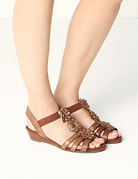 Wide Fit Leather Flower Sandals, TAN, catlanding