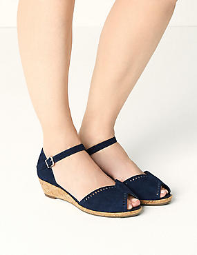 Suede Wide Fit 2 Part Wedge Sandals, NAVY, catlanding