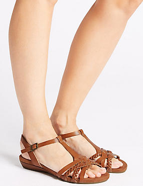 Wide Fit Leather Gladiator Sandals, TAN, catlanding