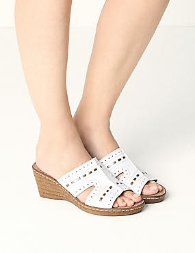 Wide Fit Leather Wedge Heel Mule Sandals, WHITE, catlanding