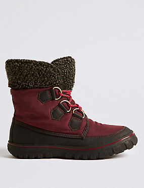 Waterproof Faux Fur Lace-up Ankle Boots