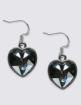 Glass Stone Heart Drop Earrings
