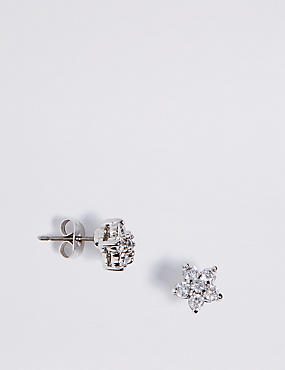 Platinum Plated Diamanté Floral Stud Earrings