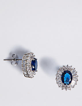 Platinum Plated Baguette Regal Stud Earrings