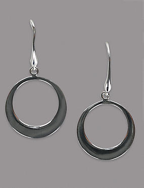 Sterling Silver Smooth Flat Hoop Earrings, , catlanding