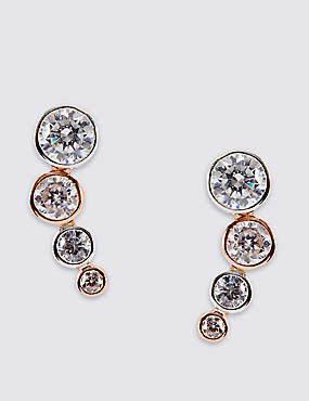 Sterling Silver Cascade Drop Earrings with Rose Gold Plating & Cubic Zirconia