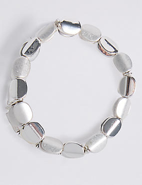 Silver Plated Twist Nugget Stretch Bracelet