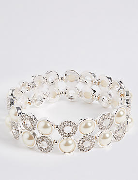Pearl Effect Pave Disc Bracelet