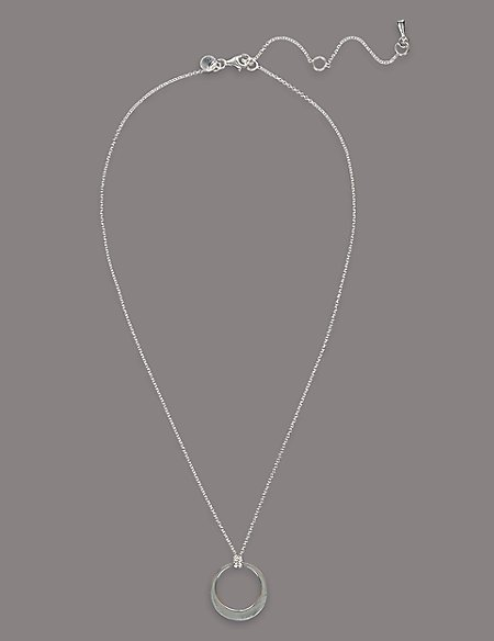 Sterling Silver Smooth Flat Hoop Necklace