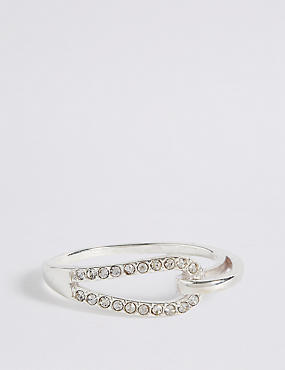 Sterling Silver Interlocking Pave Ring