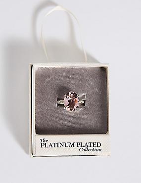 Platinum Plated Diamanté Oval Pavé Ring, PINK MIX, catlanding