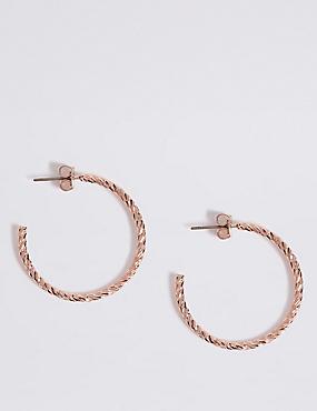 Textured Hoop Earrings, , catlanding
