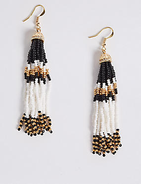 Tassel Bead Drop Earrings