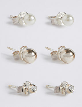 3 Pack Sterling Silver Stud Earrings Set, , catlanding
