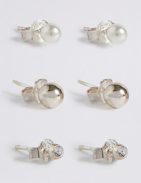 3 Pack Sterling Silver Stud Earrings Set