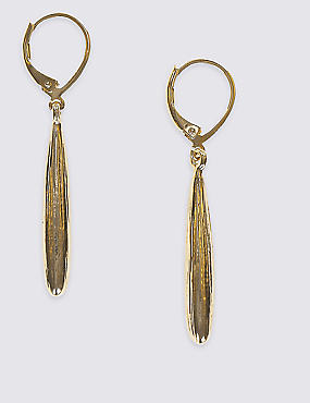 Gold Plated Slim Pear Drop Earrings