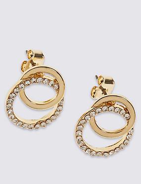 Diamanté Circle Stud Earrings, , catlanding