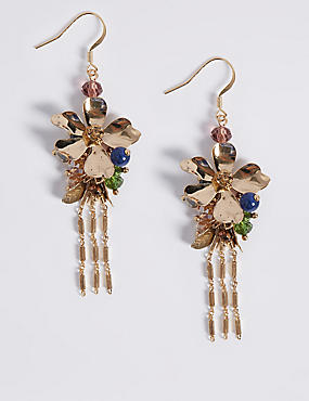 Floral Chain Drop Earrings