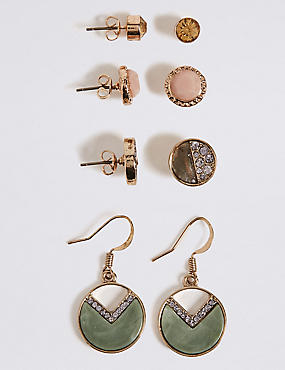 Mixed Drop & Stud Earrings Set, , catlanding