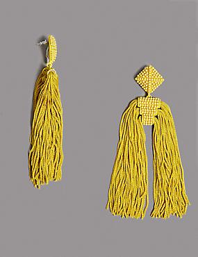 Tassel Drop Earrings , , catlanding