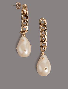 Chain Pearl Drop Earrings, , catlanding