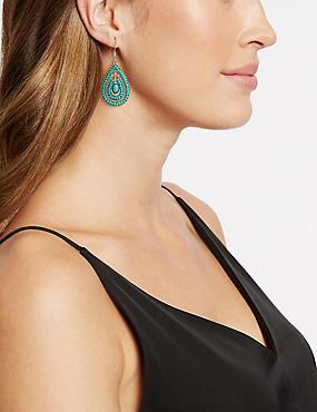 Beaded Teardrop Earrings, , catlanding