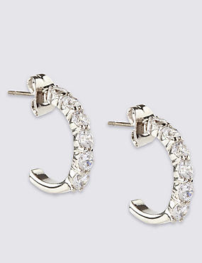 Platinum Plated Diamanté Hoop Earrings