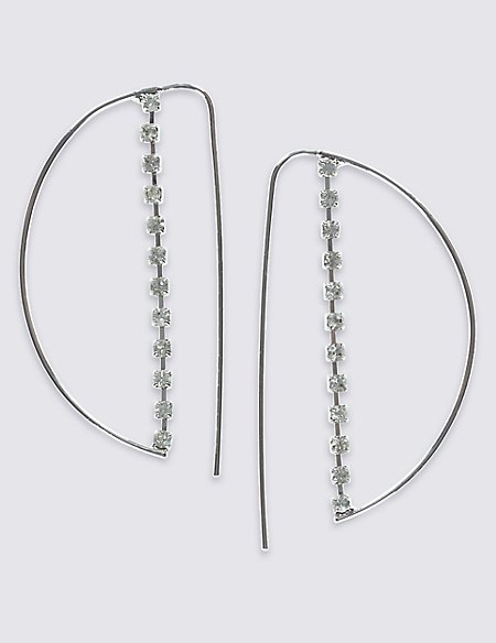 Cup Chain Half Moon Hoop Earrings