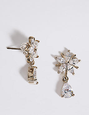 Platinum Plated Star Drop Earrings