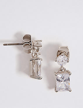 Platinum Plated Drop Earrings, , catlanding