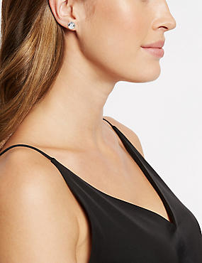 Stone Clip-On Stud Earrings, ROSE, catlanding