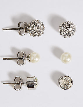 Pearl Effect Snowball Diamanté Stud Trio Earrings Set