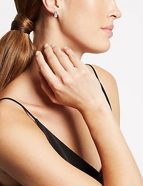 Hoop Earrings With Swarovski® Crystals, WHITE MIX, catlanding
