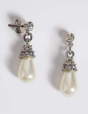 Pearl Effect Diamanté Almond Drop Earrings, , catlanding