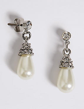 Pearl Effect Diamanté Almond Drop Earrings