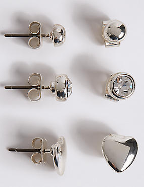 Silver Plated Assorted Stud Trio Earrings Set