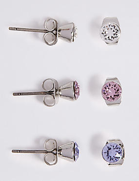 3 Pack Stud Earrings MADE WITH SWAROVSKI ELEMENTS, PURPLE MIX, catlanding