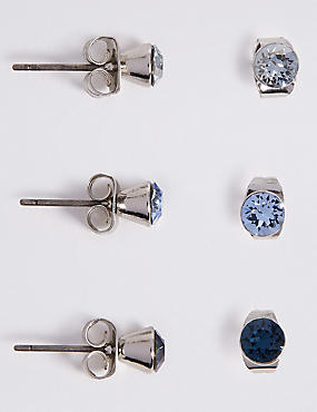 3 Pack Stud Earrings MADE WITH SWAROVSKI ELEMENTS, BLUE MIX, catlanding