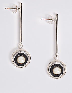 Stick Round Drop Earrings