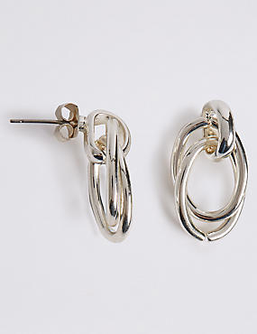 Silver Plated Loose Links Stud Earrings