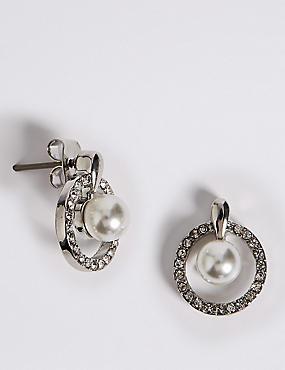 Pavé Pearl Drop Stud Earrings, , catlanding