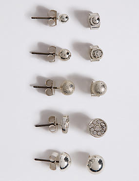 Silver Plated Multi Stud Assorted Earrings Set