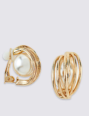 Pearl Effect Clip Earrings