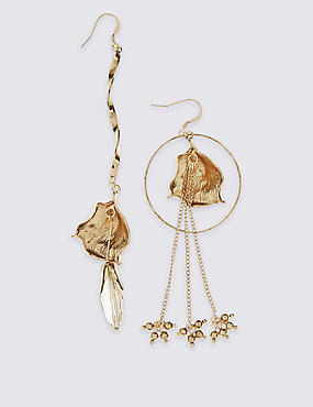 Mismatch Leaf Drop Earrings