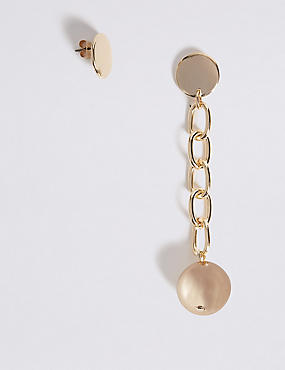 Ball Chain Mismatch Drop Earrings