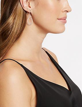 Oval Drop Earrings, PINK MIX, catlanding