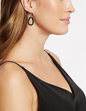 Oval Drop Earrings, BLACK MIX, catlanding
