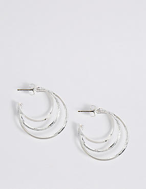 Silver Plated Glitter Hoop Earrings