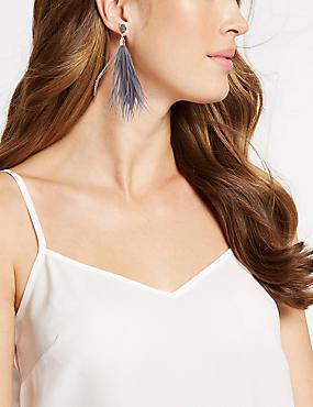 Sparkle Duster Drop Earrings, GREY MIX, catlanding